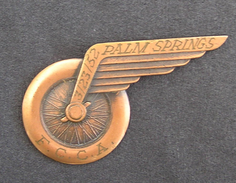 1952-3-Rare Palm Springs Road Races Dash Plaque - 1952